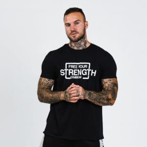 Tričko Free Your Strength Black White - GymBeam