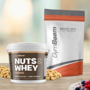 Proteinové arašídové máslo Nuts & Whey 1000 g - GymBeam + dárek
