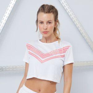 Dámské tričko CropTop Sporty Floral White - LABELLAMAFIA