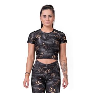 Dámské tričko Crop Top Active Black M - NEBBIA